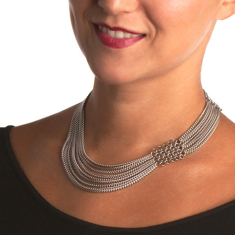 Asymmetrical chainmail choker by Wrapt in Maille